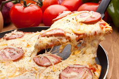 Sausage and Onion Pizza Royalty Free Stock Photography