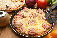 Sausage and Onion Pizza Stock Images