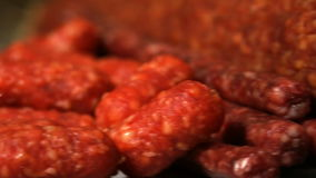 Sausage out of focus stock video