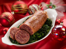 sausage over christmas table Royalty Free Stock Photo
