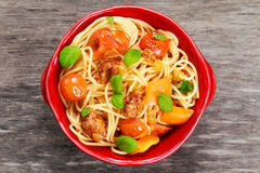 Sausage Pasta spaghetti with summer vegetables Royalty Free Stock Photography