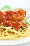 Sausage with pasta Royalty Free Stock Photography