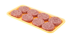 Sausage patties in a foam tray on a white background Stock Photos