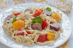 Sausage Pepper Fettuccini Skillet Stock Images