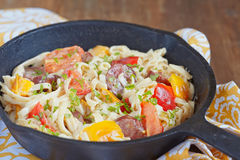 Sausage Pepper Fettuccini Skillet Royalty Free Stock Photos