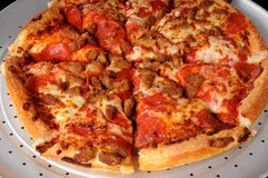 Sausage And Pepperoni Pizza Royalty Free Stock Photography