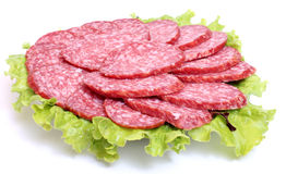 Sausage on a plate. Color photo of sausage on a plate Royalty Free Stock Photo