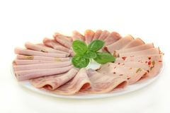 Sausage plate Stock Photography