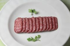 sausage in plate Stock Photos