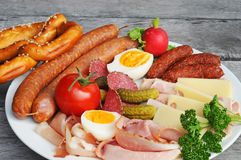 Sausage platter Stock Images
