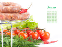 Sausage from pork and beef on a grill Stock Photography