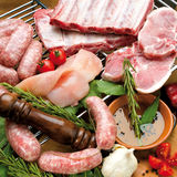 Sausage and pork, the composition of food Royalty Free Stock Photography