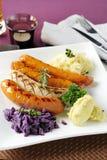 Sausage with potato Stock Photography