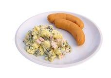 Sausage and potato salad. Sausages and potato salad, isolated on white Stock Photo