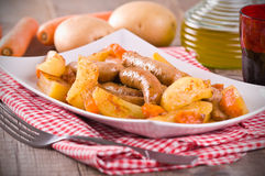 Sausage and potatoes. Royalty Free Stock Images