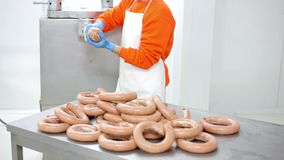 Sausage production stock video