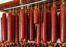 Sausage products facory stock photography