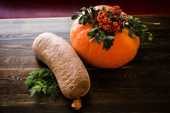 Sausage and pumpkin Royalty Free Stock Images