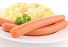 Sausage and puree Stock Photo