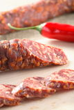 Sausage and red pepper Royalty Free Stock Photography