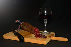 Sausage. With red wine Stock Photos