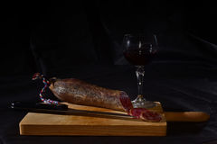 Sausage. With red wine Royalty Free Stock Photo