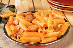 Sausage rigatoni in a skillet Stock Image