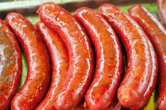 Sausage roasted on the grill Royalty Free Stock Photography