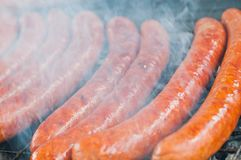 Sausage roasted on the grill Stock Photography