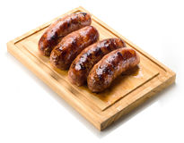 Sausage roasted on the grill. stock photos