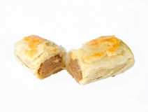 Sausage roll. Cut in half royalty free stock images