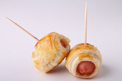 Sausage roll. And toothpick, appetizer Stock Image