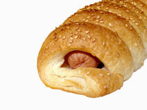 Sausage roll. Pastry isolated over white (clipping path included Stock Images