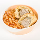 Sausage Roll & Beans Royalty Free Stock Photos