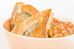 Sausage Roll & Beans Stock Photo
