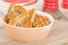Sausage Roll & Beans Royalty Free Stock Image