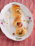 Sausage roll bread breakfast Royalty Free Stock Photo