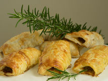Sausage roll. Breadbaked sausage snack party roll Stock Photography