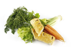 Sausage Roll with Carrots and Celery Stock Image