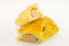 Sausage Roll Cut in Half Stock Photo