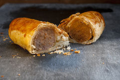 Sausage Roll Cut in Half Stock Photos