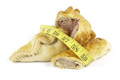 Sausage Roll With Pork Pie, Pasty And Tape Measure Royalty Free Stock Photo