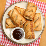 Sausage Rolls with Brown Sauce Dip Stock Images