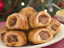 Sausage Rolls and English Mustard Royalty Free Stock Photos