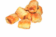 Sausage rolls isolated Stock Images