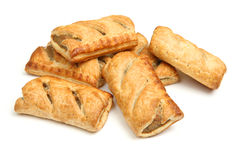 Sausage Rolls Isolated on White Stock Images