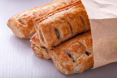 Sausage Rolls in paper bag Stock Photos