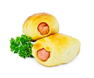 Sausage rolls with parsley Royalty Free Stock Photo