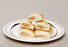 Sausage Rolls On A Plate Royalty Free Stock Images