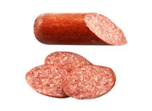 Sausage salami. Isolated on the white background royalty free stock photography